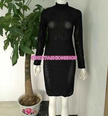 New Sexy Women Bodycon Bandage Full Sleeve Lace Patchwork Party Evening Dress