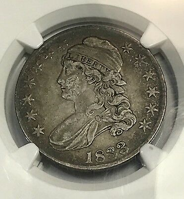 1833 Capped Bust Silver Half Dollar. NGC VF35. O-114. Rare Graded Collector Coin
