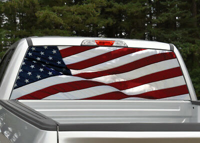 WAVING AMERICAN FLAG Truck Bed Band Decal Graphic Sticker