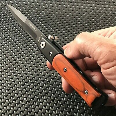 "7"" WOOD STILETTO SPRING ASSISTED TACTICAL FOLDING KNIFE Pocket Blade Assist Open"