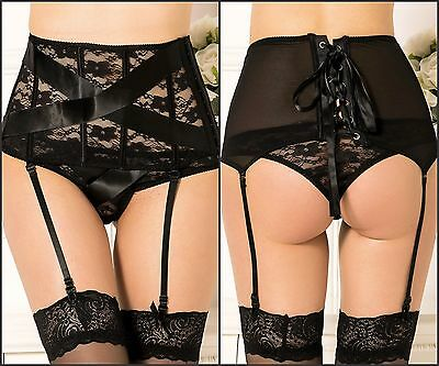 4PC Floral Lace Boned High Waist Adjustable Garter+Straps+Panty+Stockings m-5xl