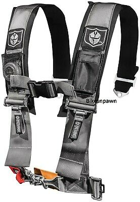 """New Pro Armor Silver 4 Point Safety Harness Seat Belt 3"""" Pads RZR  A114230SV"""