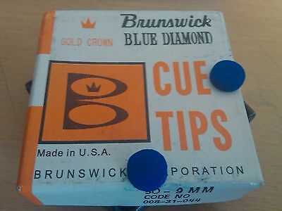 "TWO (2) 9mm BRUNSWICK ""BLUE DIAMOND GOLD CROWN"" POOL BILLIARD SNOOKER CUE TIPS"
