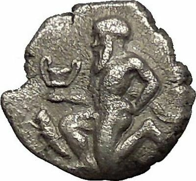 THASOS Thrace Island 404BC Nude Satyr Silenos Wine CUP Silver Greek Coin i53882