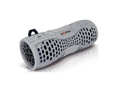NEW SEAL--Axess SPBW1035 Gray Water-Resistant Portable Bluetooth Speaker w/MIC