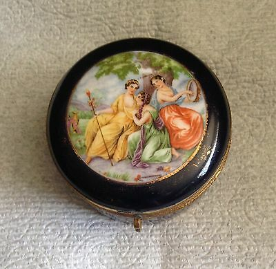 Vintage porcelain jewerly box cobalt blue courting couple scene