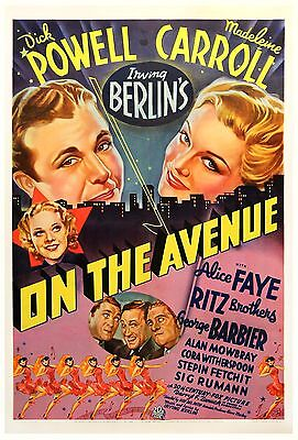 ON THE AVENUE (1937) One sheet poster on linen ICONIC Fox musical LIVELY art NF