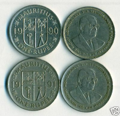 2 DIFFERENT 1 RUPEE COINS from MAURITIUS (1990 & 1991)