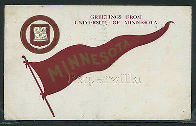 Rare MN Minneapolis LITHO 1909 PENNANT GREETINGS FROM UNIVERSITY of MINNESOTA