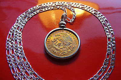 "1957 MEXICAN Golden Eagle Coin Bezel Pendant on a 30"" 925 Sterling Silver Chain"