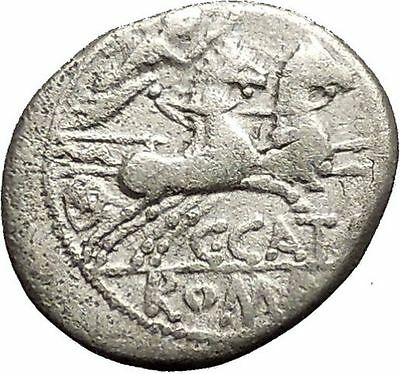 Roman Republic Rome 123BC CATO the CENSOR Grandson Victory Silver Coin i53888