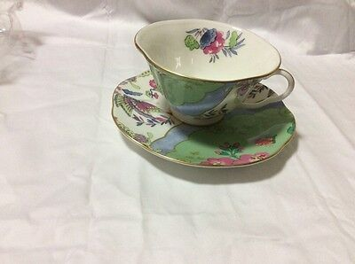 Wedgwood Butterfly Bloom GREEN Cup and Saucer