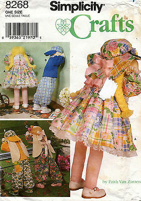 """Simplicity Doll, Bunny and Clothes Pattern 8268  Size 30"""" UNCUT"""