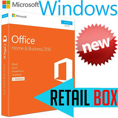 Microsoft Office Home & Business 2016 1 User PC Mac Retail Digital Licence NEW