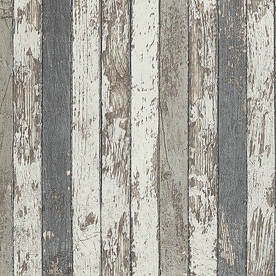 Brown, Grey & White Timber Wood Look Wallpaper - French Shabby - NEW!