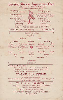 GRESLEY ROVERS v HINCKLEY FOOTBALL PROGRAMME ~ FIRST GAME OF 1954/55 SEASON