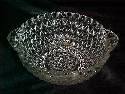 Berry Bowl 1950s Clear Pattern Glass Tab Handle Vintage Anchor Hocking