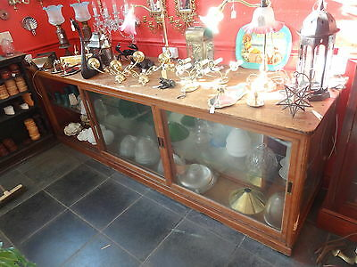 Large Antique Glass /  Wood Showcase Or Shop Counter Display Cabinet