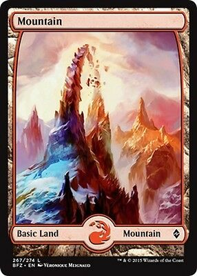 2x FULL ART Montagna 267 - Mountain 267 MTG MAGIC BFZ Battle for Zendikar En/It