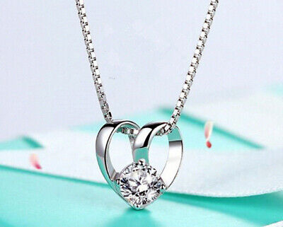Linked heart Pendant 925 sterling Silver Chain Necklace Jewellery Womens Gifts