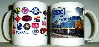CSX RAILROAD COFFEE MUG - // Heritage Logo // Collectible Cup // Train Art