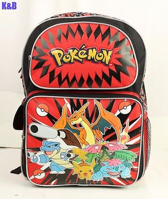 "New Pokemon Pikachu 16"" Large School Backpack For Kids Boys"