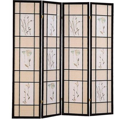 Four Panel Black Folding Floor Screen with Floral Motif by Coaster 4407