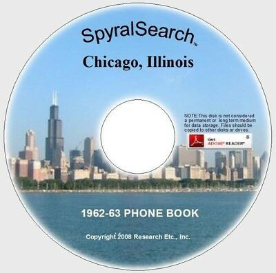 IL - Chicago 1962-63 Phone Book CD Text Searchable!