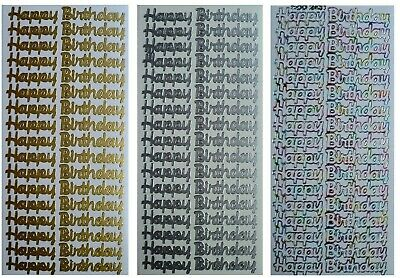 HAPPY BIRTHDAY Peel Off Stickers x 17 Card Making Scrapbooking Gold or Silver