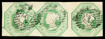 Sg54, 1s pale green, CUT SQUARE, good used, STRIP x 3. Cat £2850.