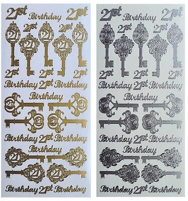 21st BIRTHDAY Peel off Stickers Key Card Making Gold Silver Multi Colour Bronze