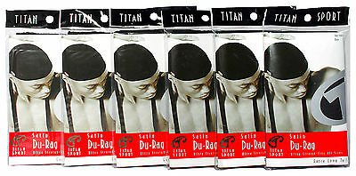 Titan Sport Satin Black Du Rag Extra Long Tail Ultra Stretch #603 Lot of 6