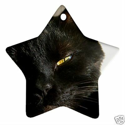 Black Cat Star Shaped Christmas Ornament