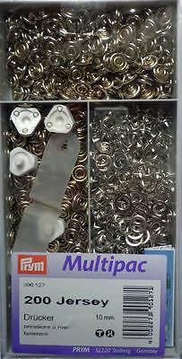 Prym Multipack Poppers 200 Pieces Ring Jersey 10 mm silver colour