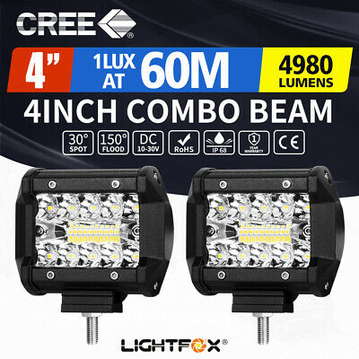 "2x 4""inch CREE LED Light Bar SPOT FLOOD 3Row Work Fog Lamp Offroad 4x4"