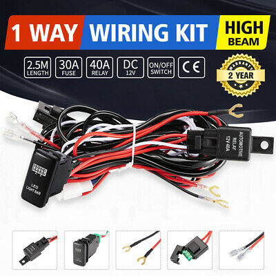 Heavy Duty LED Light Bar Wiring Loom Harness 40A Switch Relay Kit 12V for Toyato
