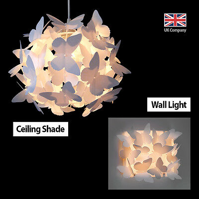 Matching Butterfly Ceiling Pendant Light Chandelier Lamp Shade & Wall Light NEW
