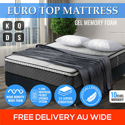 Gel Memory Foam Pocket Spring Latex Euro Top King Queen Double Single Mattress