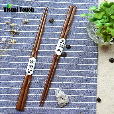 2 Pairs Solid Wood Chopsticks Carving HandCraft Japanese Chop Sticks Cutlery