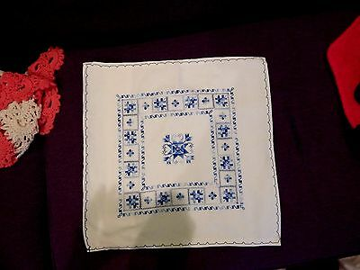 VINTAGE PILLOW COVER OR SHAM ~ELABORATE HAND EMBROIDERED in SHADES of BLUE