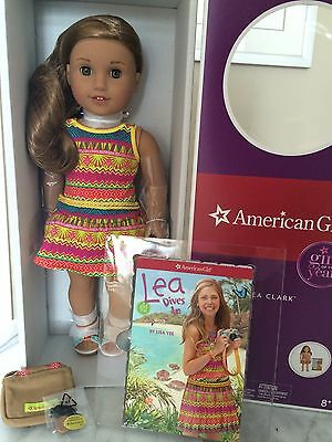 """American Girl of the Year Lea Clark 18"""" Doll Book Compass Necklace Bag New NIB!!"""