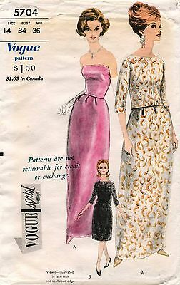 1960's VTG VOGUE SPECIAL DESIGN Evening Dress,Jacket&Petticoat Pattern 5704 14