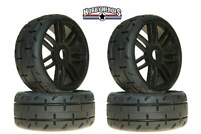 GRP GTX01-S3 (4) 1:8 GT Treaded Soft Black Spoked Rubber Tires Free Shipping