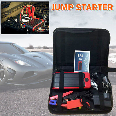 12000mAh Portable Car Vehicle Jump Starter Phone Charger Power Bank 12V 400A T6