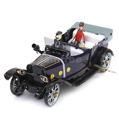 VINTAGE WIND UP Roadster SEDAN CAR With DRIVER CLOCKWORK TINPLATE TOY Retro