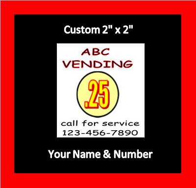 8 Custom Vending Label Price Stickers Candy Gumball You Name Number