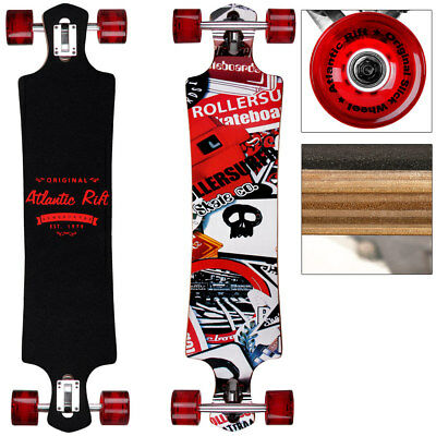 Longboard Skateboard Drop Through 107cm Skate  ABEC 9 Holzboard Komplett Rot
