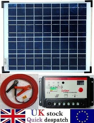 15w Solar Panel c/w 10A Charger Controller and 4m Cable + fuse for 12v Batttery