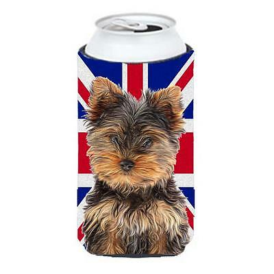 Yorkie Puppy & Yorkshire Terrier with English Union Jack British Flag Tall Bo...