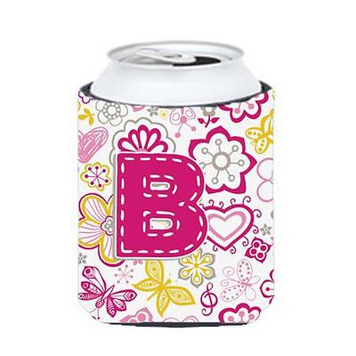 Carolines Treasures Letter B Flowers And Butterflies Pink Can & Bottle Hugger